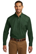 Port Authority Long Sleeve Carefree Poplin Shirt Deep Forest Green W100