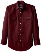 Wrangler Men's Authentic Cowboy Cut Work Western Long-Sleeve Shirt # Red Oxide