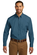 Port Authority Long Sleeve Carefree Poplin Shirt Dusty Blue W100