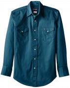 Wrangler Men's Authentic Cowboy Cut Work Western Long-Sleeve Shirt # Dark Teal