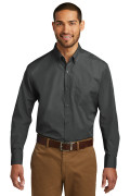 Port Authority Long Sleeve Carefree Poplin Shirt Graphite W100