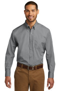 Port Authority Long Sleeve Carefree Poplin Shirt Gusty Grey W100