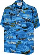 Men's Plane of Liberty Blue Hawaiian Cotton Shirt 410-3820 Blue