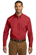 Port Authority Long Sleeve Carefree Poplin Shirt Rich Red W100