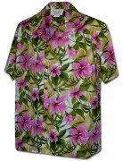 Men's Hibiscus Garden Hawaiian Shirt 410-3956 Pink