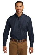 Port Authority Long Sleeve Carefree Poplin Shirt River Blue Navy W100