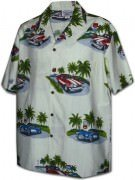 Pacific Legend Matched Front Men's Hawaiian Shirts - 442-3656 Cream