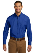 Port Authority Long Sleeve Carefree Poplin Shirt True Royal W100