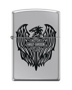 Zippo Harley-Davidson Eagle Wings Pocket Lighter High Polish Chrome Eagle