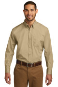Port Authority Long Sleeve Carefree Poplin Shirt Wheat W100
