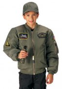 Rothco Kids Flight Jacket With Patches Sage Green 7340