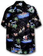 Pacific Legend Matched Front Men's Hawaiian Shirts 442-3650 Black