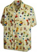 Men's Hawaiian Shirts Allover Prints - 410-3898 Khaki