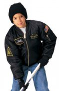 Rothco Kids Flight Jacket With Patches Black  7341