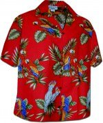 Pacific Legend Jungle Parrot Hawaiian Shirts - 346-3531 Red