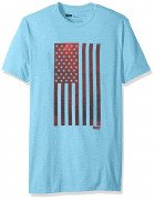 Levis Men Woosah T-Shirt with American Flag Sky Blue Heather