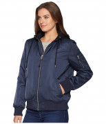 Levi's Womens MA-1 Flight Jacket with Jersey Hood Navy