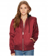 Levi's Womens MA-1 Flight Jacket with Jersey Hood Wine