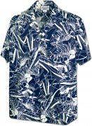 Men's Hawaiian Shirts Allover Prints - 410-3904 Navy