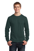 Port & Company Long Sleeve Core Cotton Tee Dark Green PC54LSDG