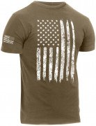 Rothco Distressed US Flag Athletic Fit T-Shirt Coyote 2632