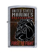 Zippo US Marines Lighters Street Chrome First to Fight