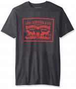 Levis Mens T-Shirt with 2 Horse Pull Logo Charcoal Heather