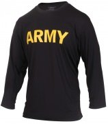 Rothco Physical Training Long Sleeve T-Shirt - Black / ARMY (Gold Lettering) - 56020