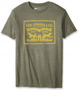 Levis Mens T-Shirt with 2 Horse Pull Logo Sage Heather