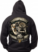 Black Ink U.S.M.C. Bulldog Hooded Pullover Sweatshirt 80333 SALE