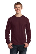 Port & Company Long Sleeve Core Cotton Tee Athletic Maroon PC54LSAM