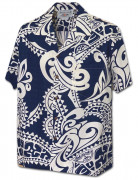 Tribal Tattoo Designs Men's Aloha Shirt 410-3984 Navy