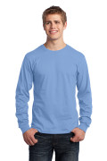 Port & Company Long Sleeve Core Cotton Tee Light Blue PC54LSLB