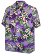 Tropical Tiare Flower Men's Hawaiian Shirts 410-3978 Purple