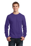 Port & Company Long Sleeve Core Cotton Tee Purple PC54LSP
