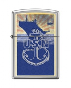 Zippo US Navy Lighter High Polish Chrome Boat