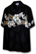 Pacific Legend Men's Border Hawaiian Shirts - 440-3545 Black