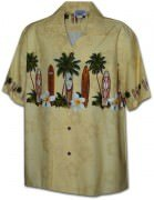 Pacific Legend Men's Border Hawaiian Shirts - 440-3466 Beige