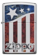 Zippo American Flag Lighters High Polish Chrome Fusion