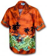 Pacific Legend Men's Border Hawaiian Shirts - 440-2846 Rust