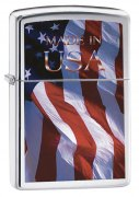 Zippo American Flag Lighters Brushed Chrome Made in USA
