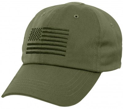 Бейсболка тактическая Rothco Tactical Operator Cap With US Flag Olive Drab 4633, фото