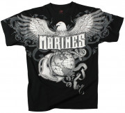 Rothco Vintage Military T-Shirt Black Marines Eagle EGA 66310