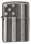 Zippo American Flag Lighters Antique Silver Plate Armor