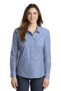 Port Authority® Ladies Slub Chambray Shirt Light Blue