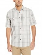 Wrangler Authentics Men's Short Sleeve Canvas Shirt Glacier Grey Plaid