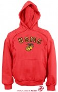 Rothco USMC Globe and Anchor Pullover Hooded Sweatshirt Red - 9222