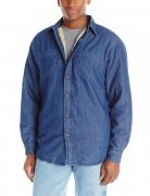 Wrangler Authentics Mens Long Sleeve Sherpa Lined Denim Shirt Indigo