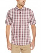 Wrangler Authentics Men's Short Sleeve Plaid Woven Shirt Biking Red