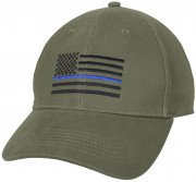Rothco Thin Blue Line Flag Low Profile Cap Olive Drab 4425